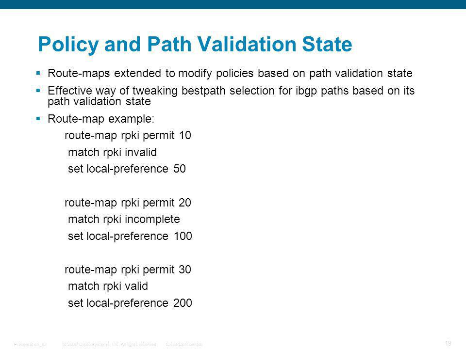 Policy and Path Validation State
