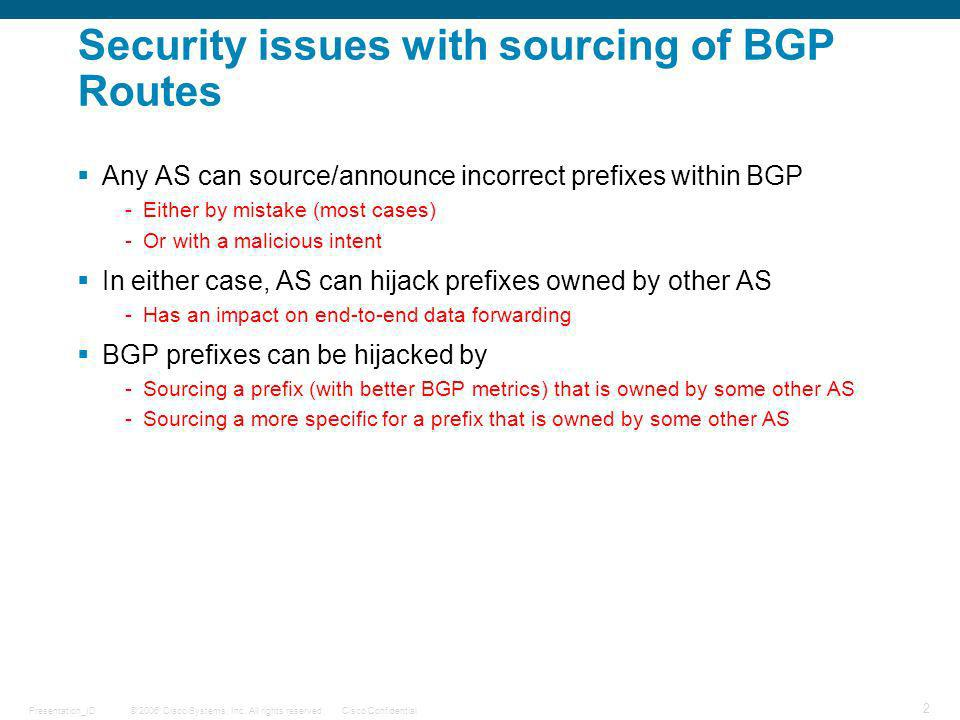Security issues with sourcing of BGP Routes