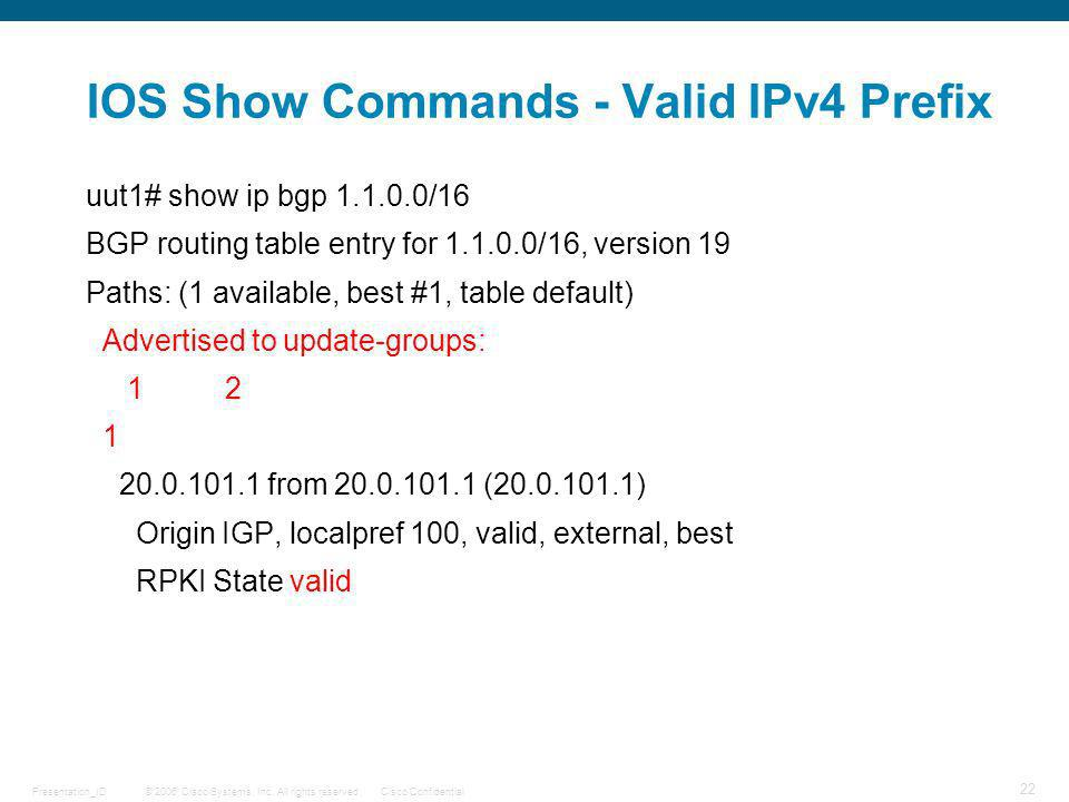 IOS Show Commands - Valid IPv4 Prefix