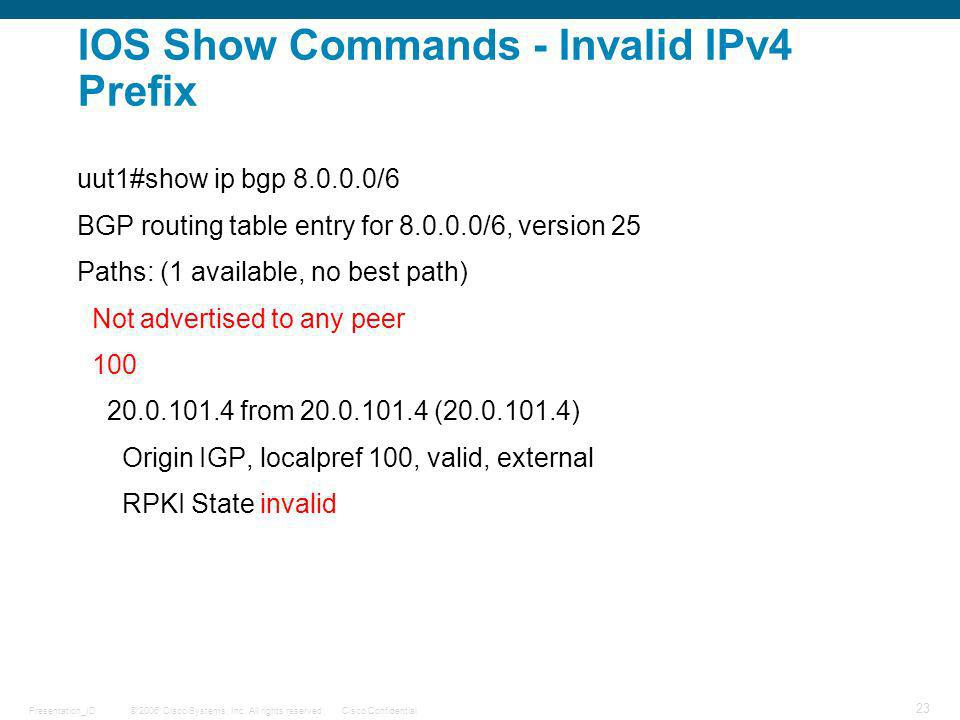 IOS Show Commands - Invalid IPv4 Prefix