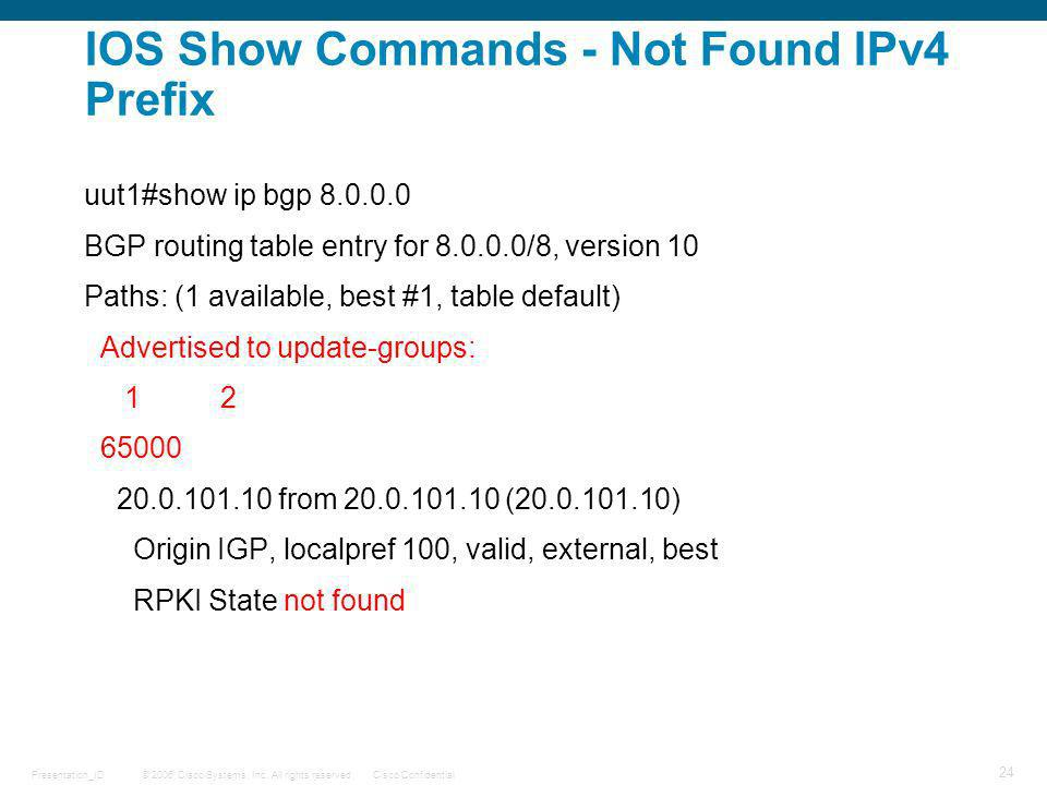 IOS Show Commands - Not Found IPv4 Prefix