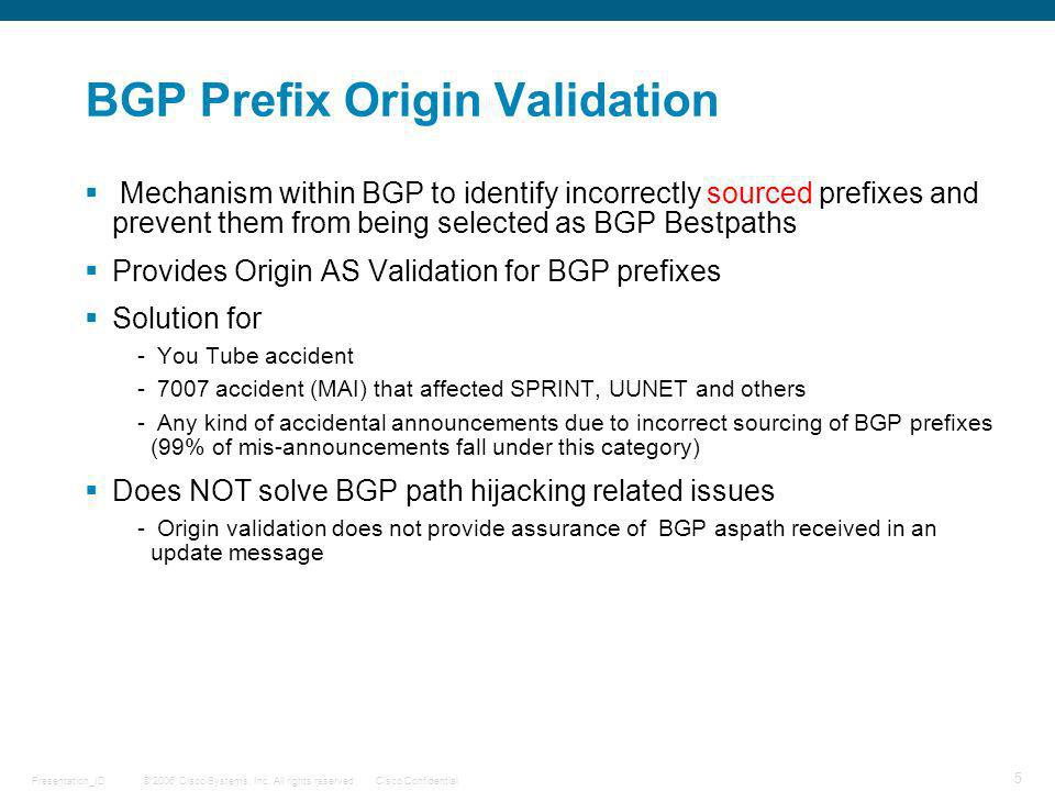 BGP Prefix Origin Validation