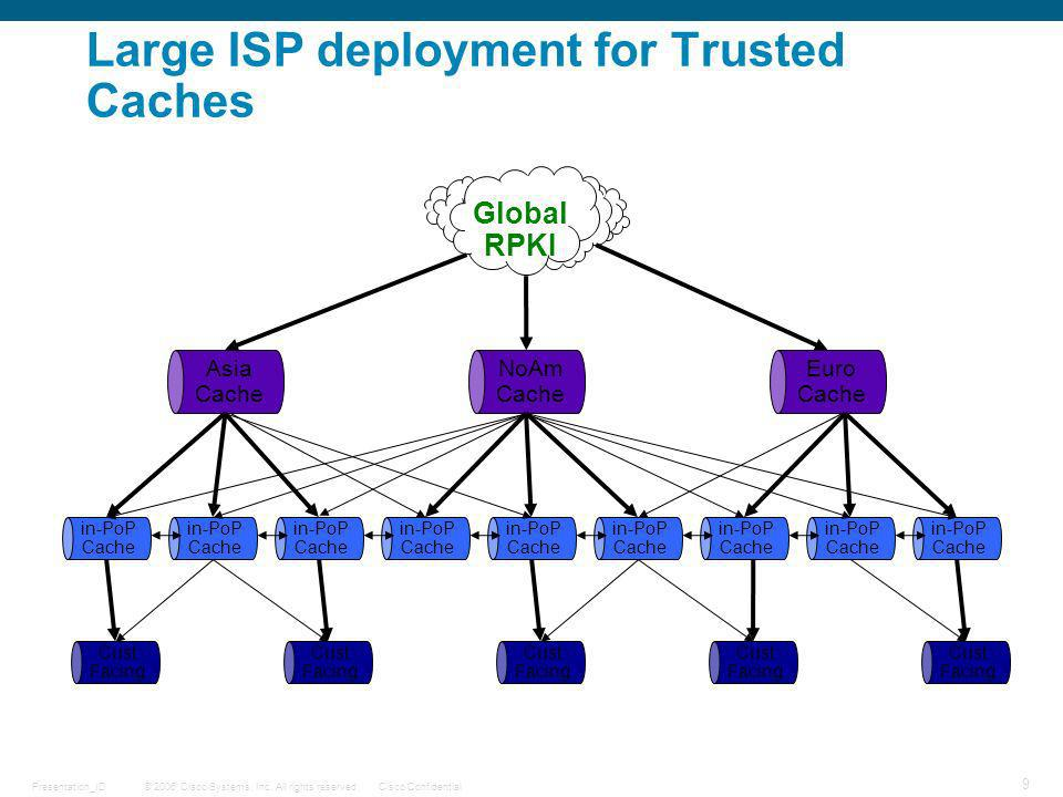 Large ISP deployment for Trusted Caches