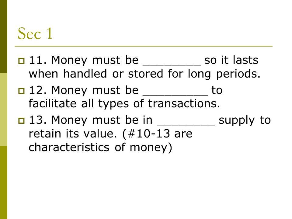 characteristics of money ppt