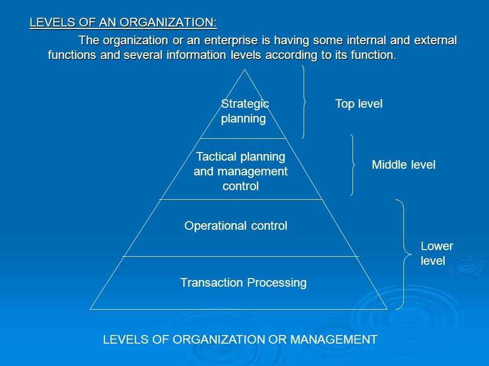 3 levels of planning in management
