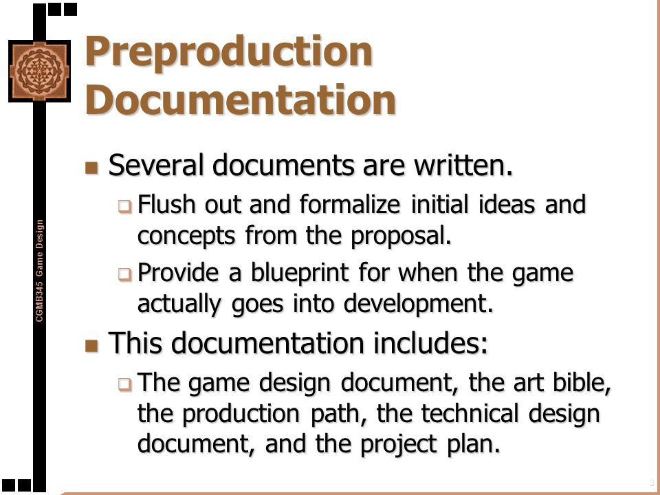 Preproduction In The Game Development Process Ppt Download - Art design document