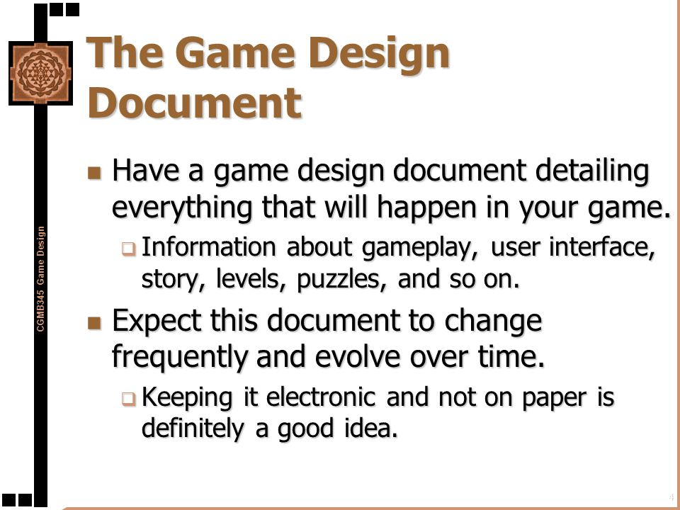 Preproduction In The Game Development Process Ppt Download - Game development document template