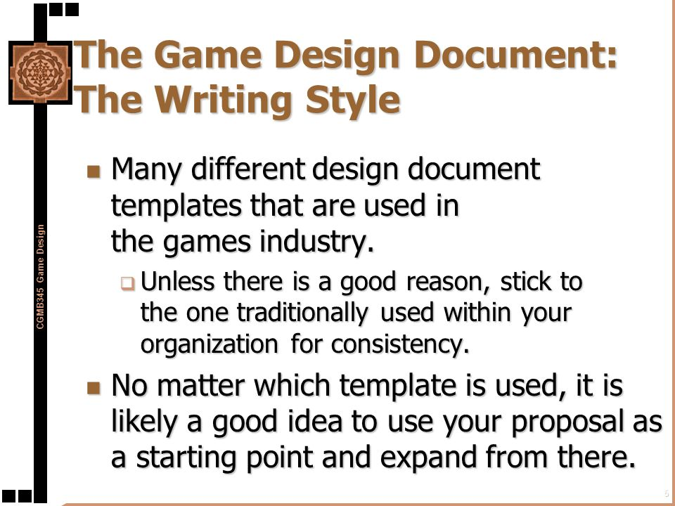 Preproduction in the game development process ppt download the game design document the writing style maxwellsz