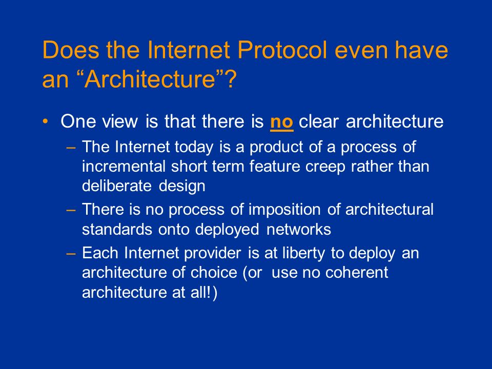 Does the Internet Protocol even have an Architecture
