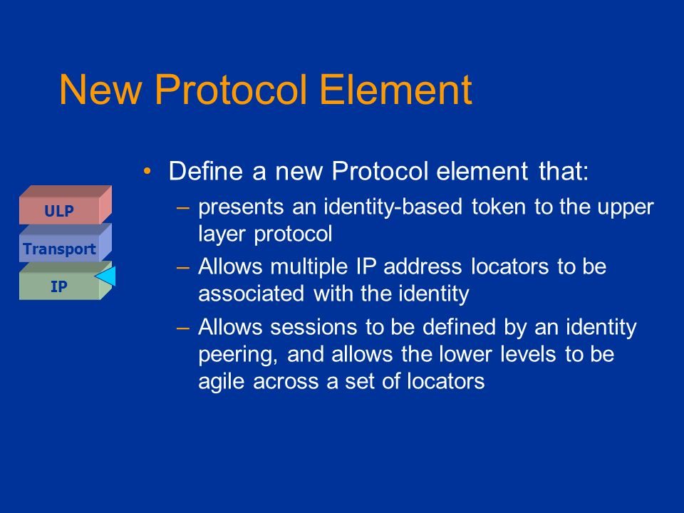 New Protocol Element Define a new Protocol element that: