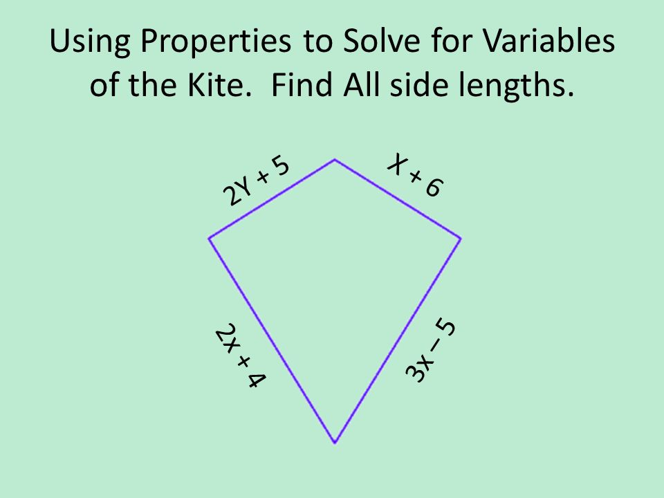 Using Properties to Solve for Variables of the Kite