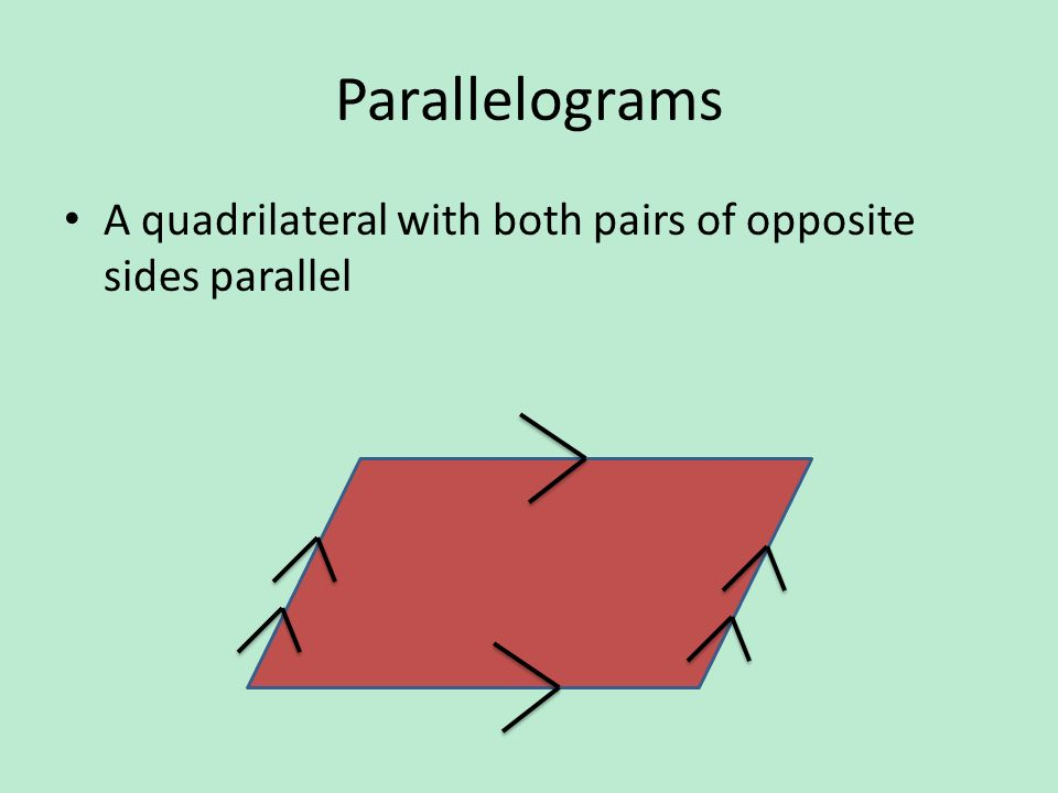 Parallelograms A quadrilateral with both pairs of opposite sides parallel