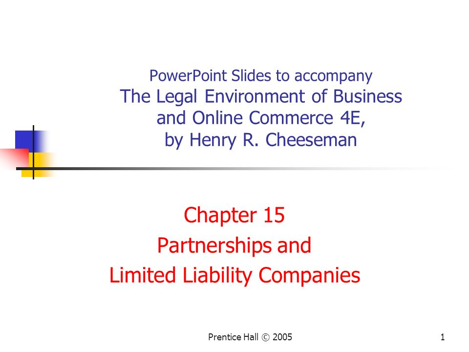 Chapter 15 Partnerships and Limited Liability Companies