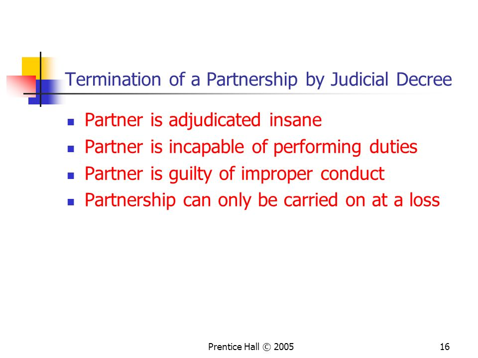 Termination of a Partnership by Judicial Decree