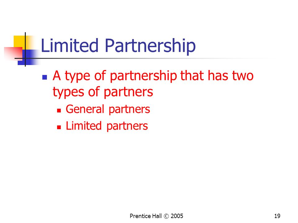 Limited Partnership A type of partnership that has two types of partners. General partners. Limited partners.