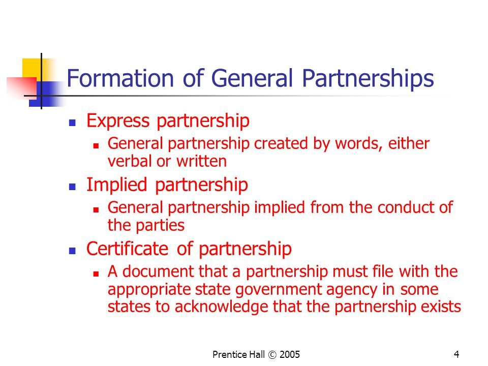 Formation of General Partnerships