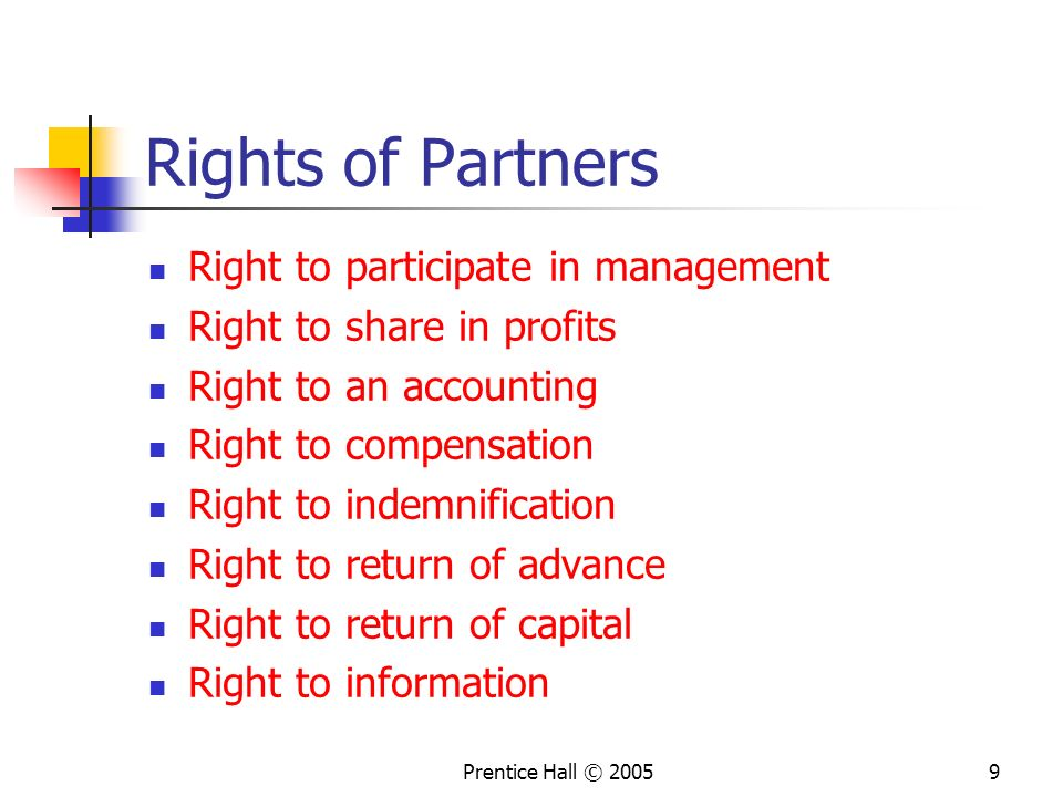 Rights of Partners Right to participate in management