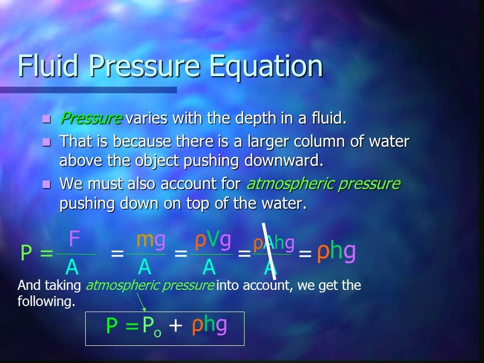 Fluid Pressure Equation