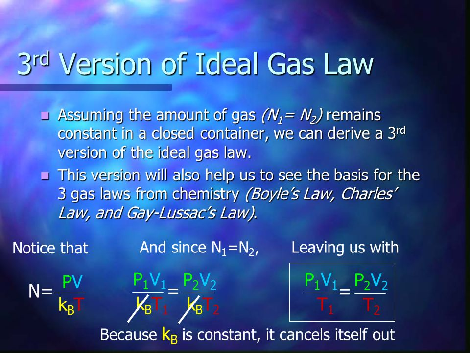 3rd Version of Ideal Gas Law