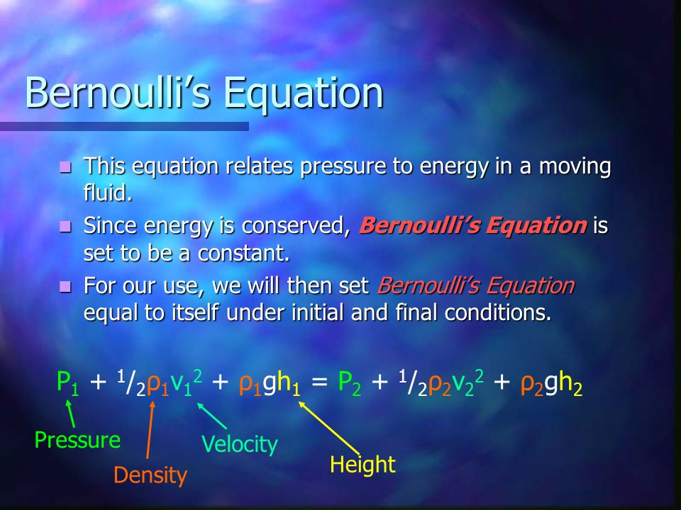 Bernoulli's Equation P1 + 1/2ρ1v12 + ρ1gh1 = P2 + 1/2ρ2v22 + ρ2gh2