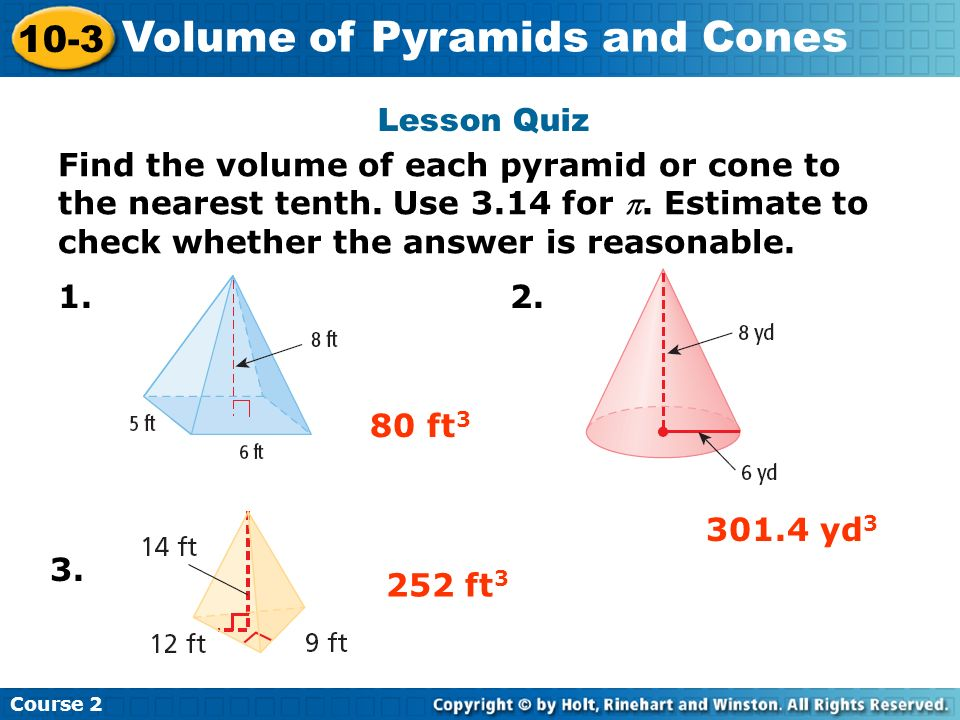 10-7 problem solving volume of pyramids and cones