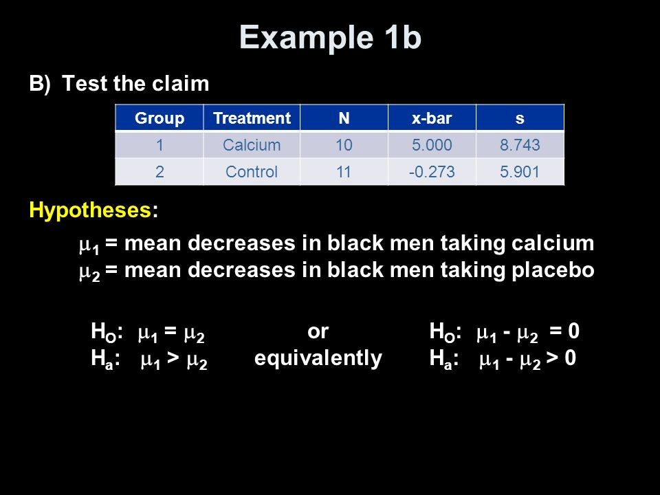 Example 1b Test the claim Hypotheses: