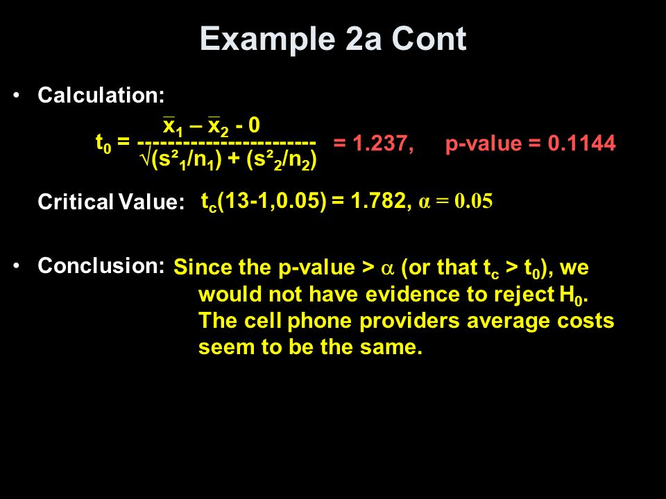 Example 2a Cont Calculation: Critical Value: x1 – x2 - 0