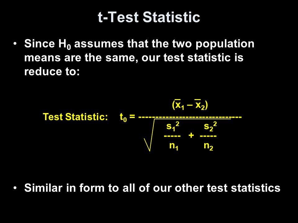 t-Test Statistic Since H0 assumes that the two population means are the same, our test statistic is reduce to: