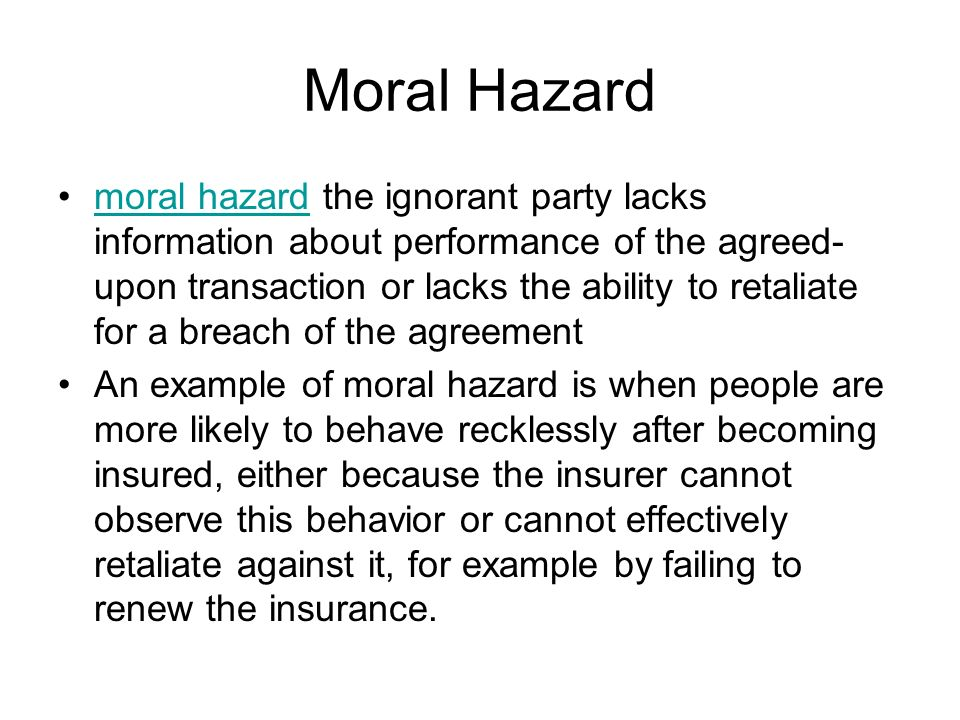 Numerical example of moral hazard analysis youtube.