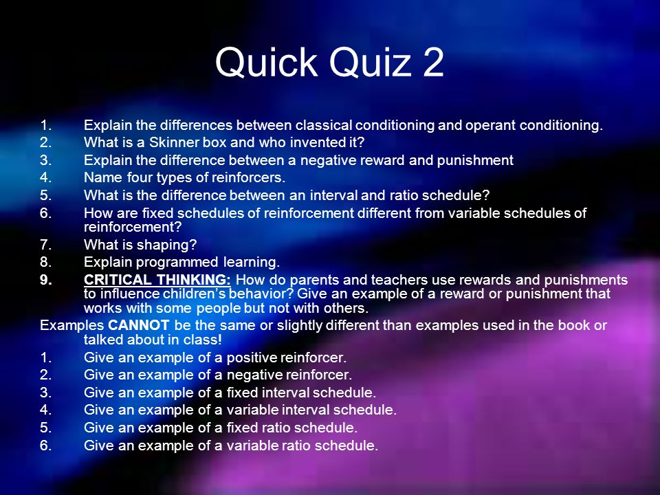 classical and operant conditioning quiz