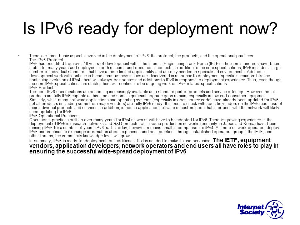 Is IPv6 ready for deployment now