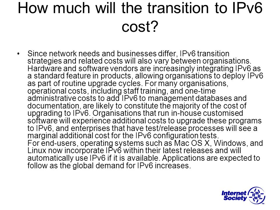 How much will the transition to IPv6 cost