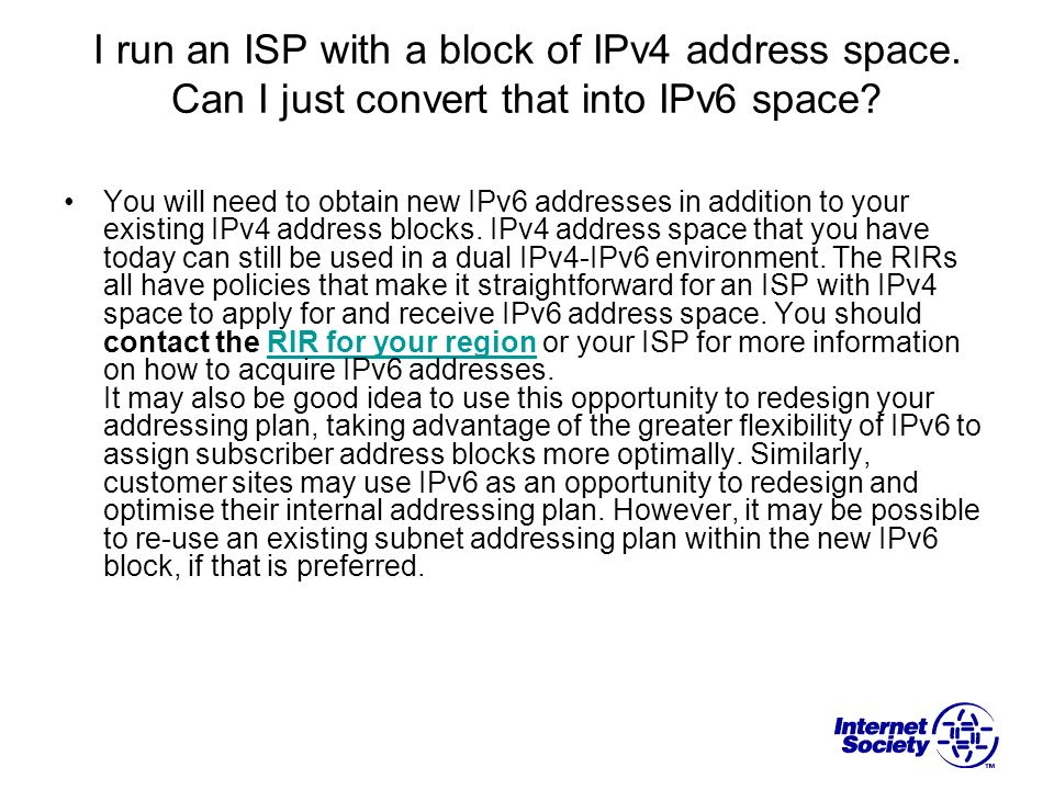 I run an ISP with a block of IPv4 address space
