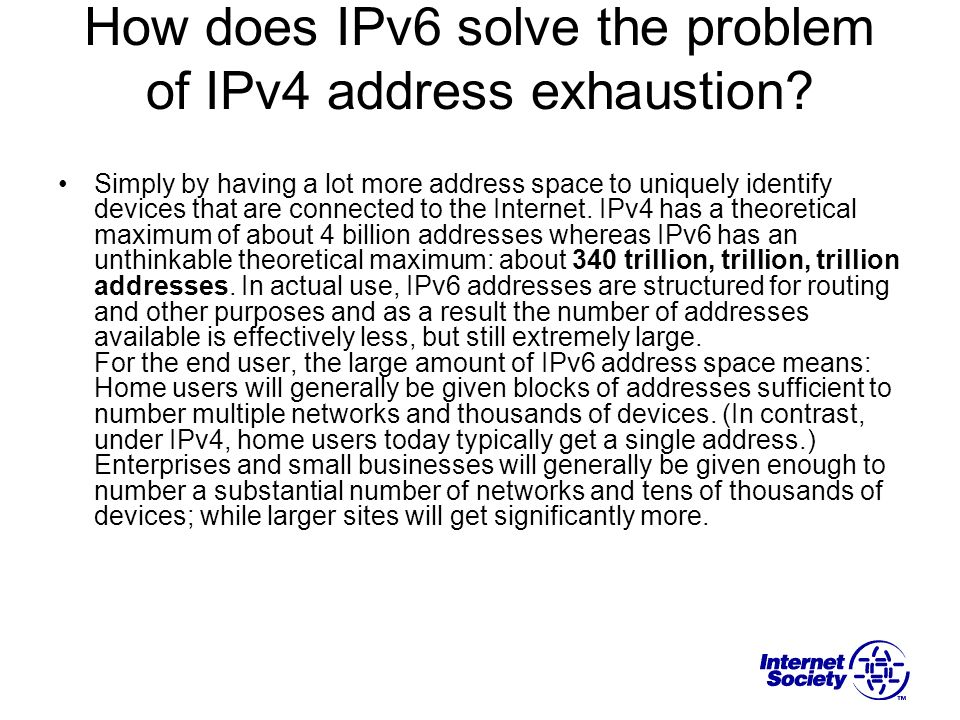 How does IPv6 solve the problem of IPv4 address exhaustion