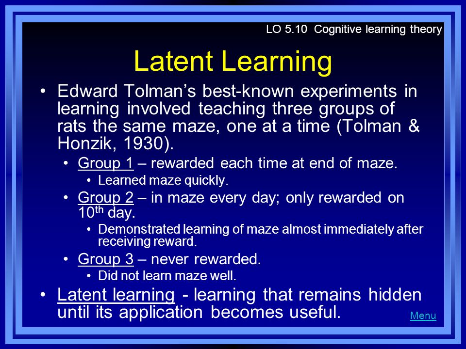 LO 5.10 Cognitive learning theory