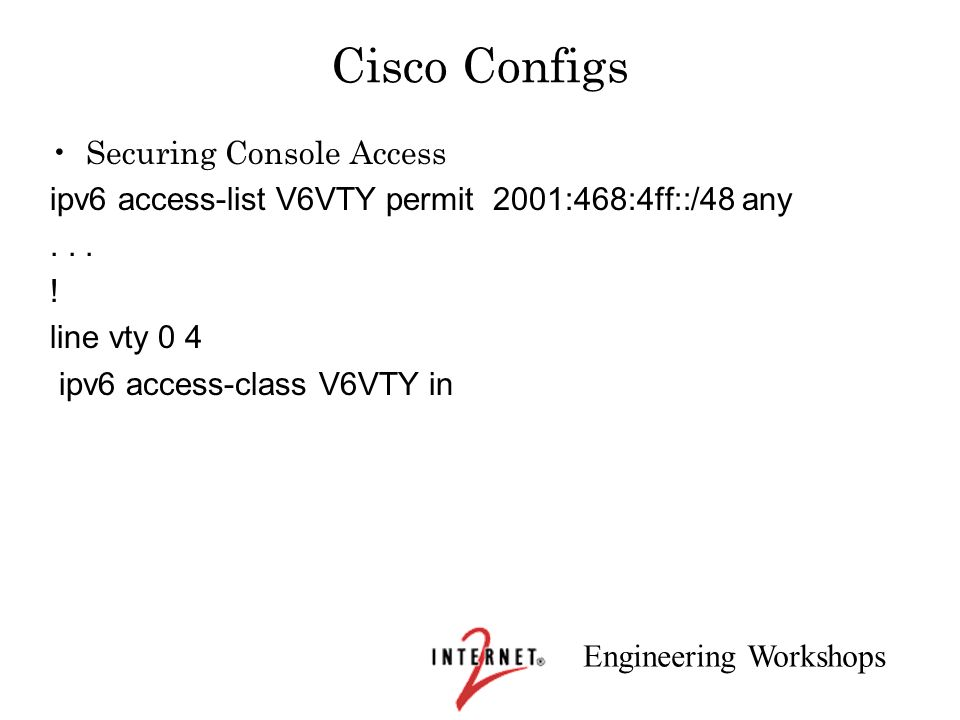 Cisco Configs Securing Console Access