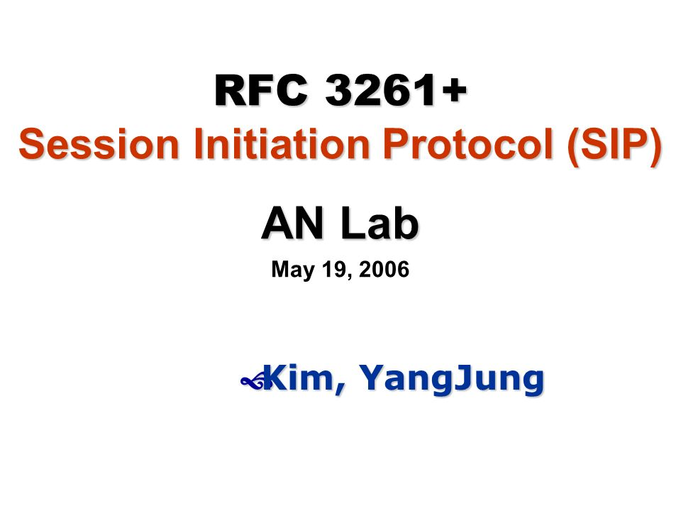 RFC Session Initiation Protocol (SIP)