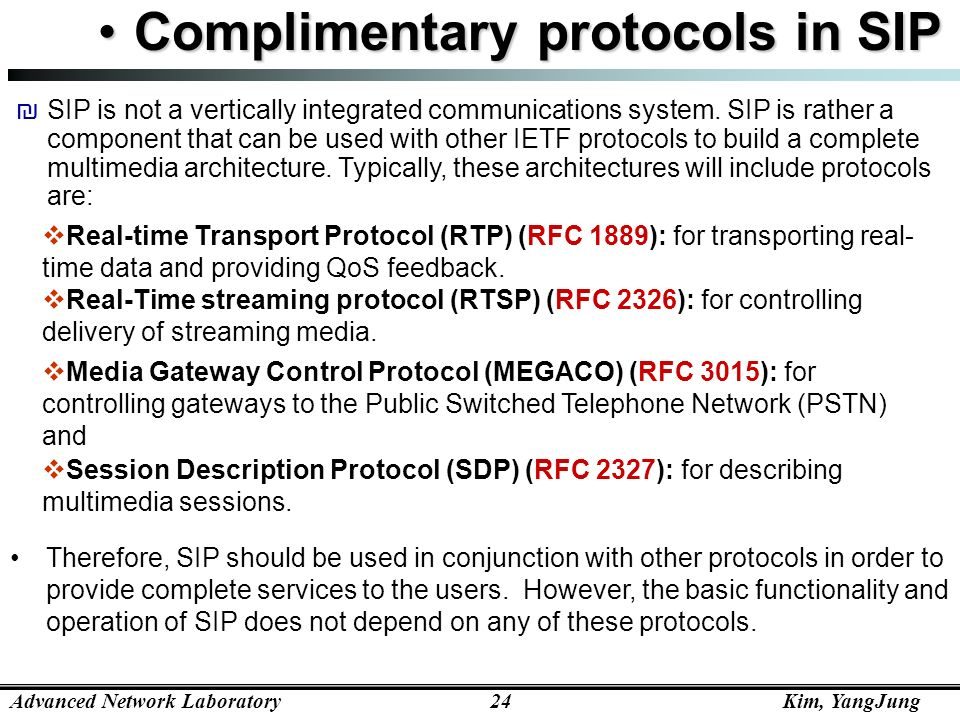 Complimentary protocols in SIP