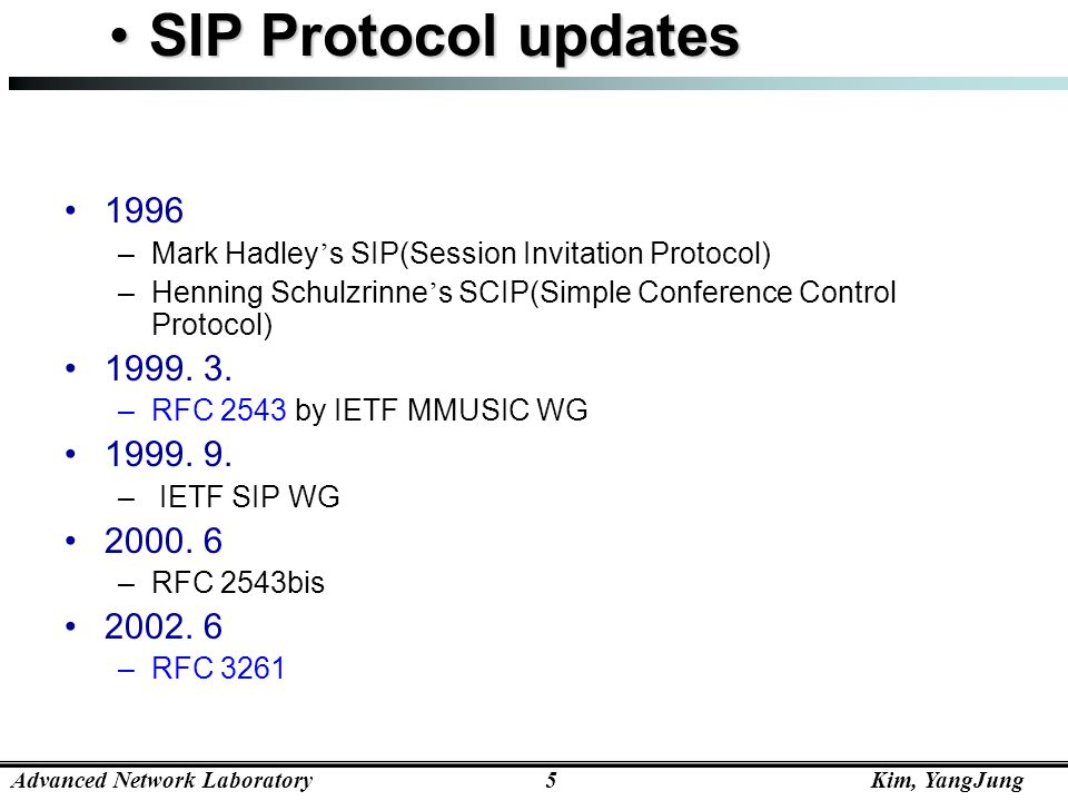 SIP Protocol updates Mark Hadley's SIP(Session Invitation Protocol) Henning Schulzrinne's SCIP(Simple Conference Control Protocol)