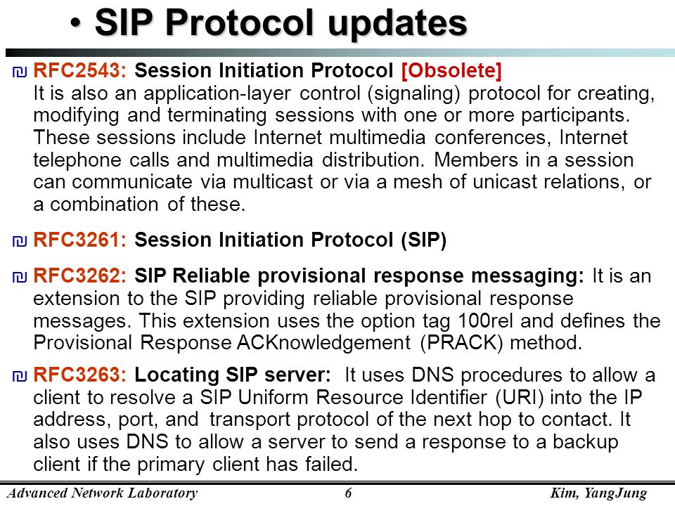 SIP Protocol updates