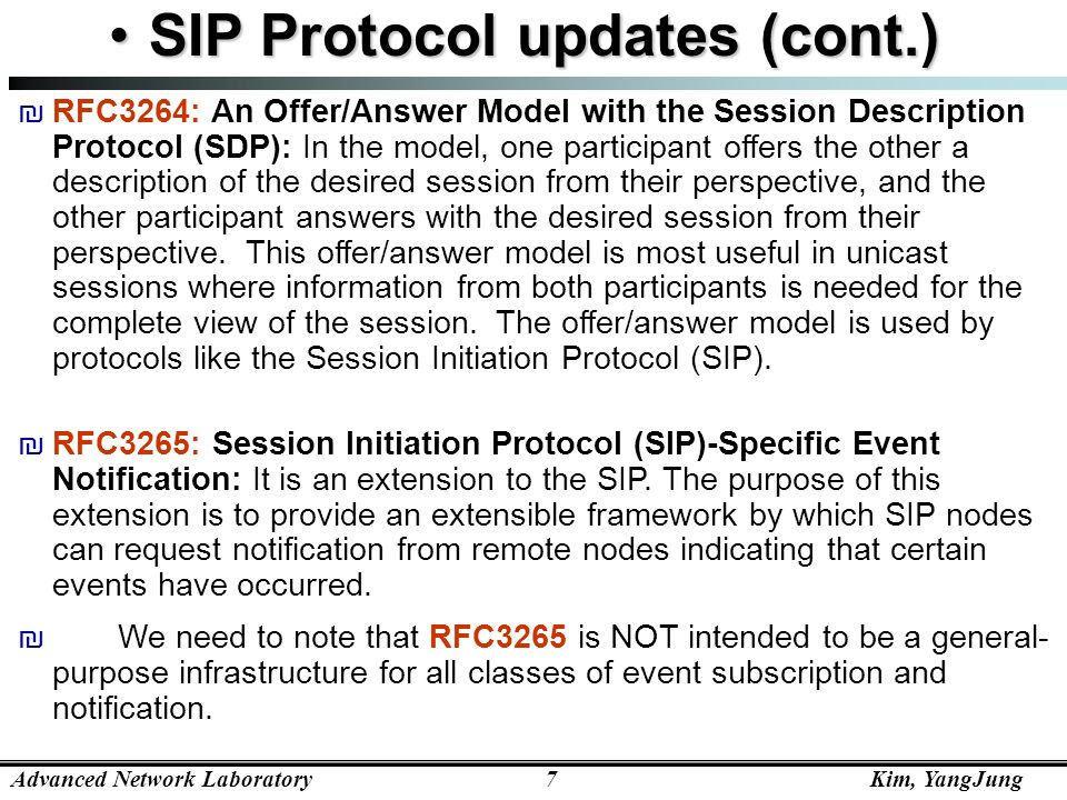 SIP Protocol updates (cont.)