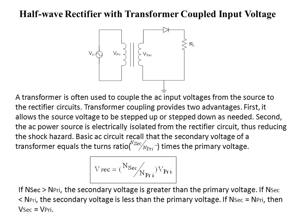 Half-wave Rectifier with Transformer Coupled Input Voltage