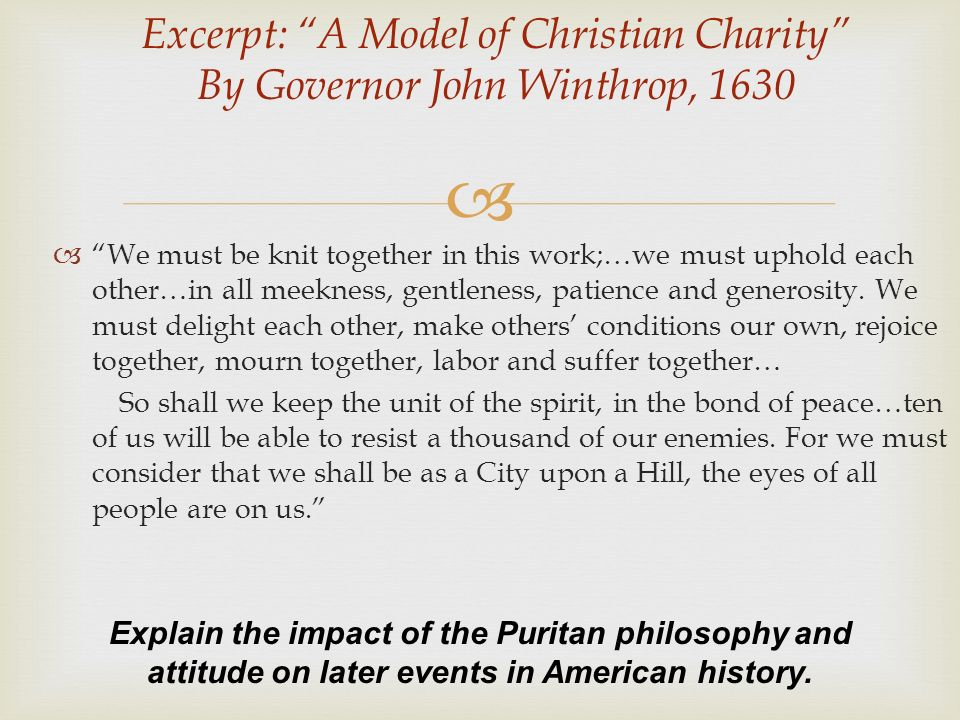 Excerpt A Model Of Christian Charity By Governor John Winthrop 1630