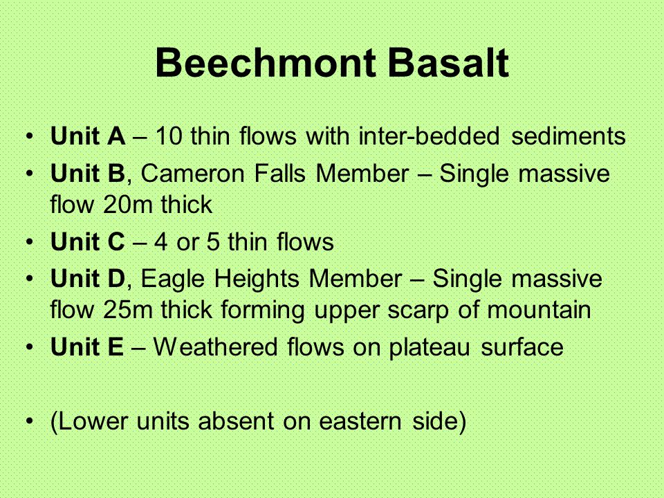 Beechmont Basalt Unit A – 10 thin flows with inter-bedded sediments