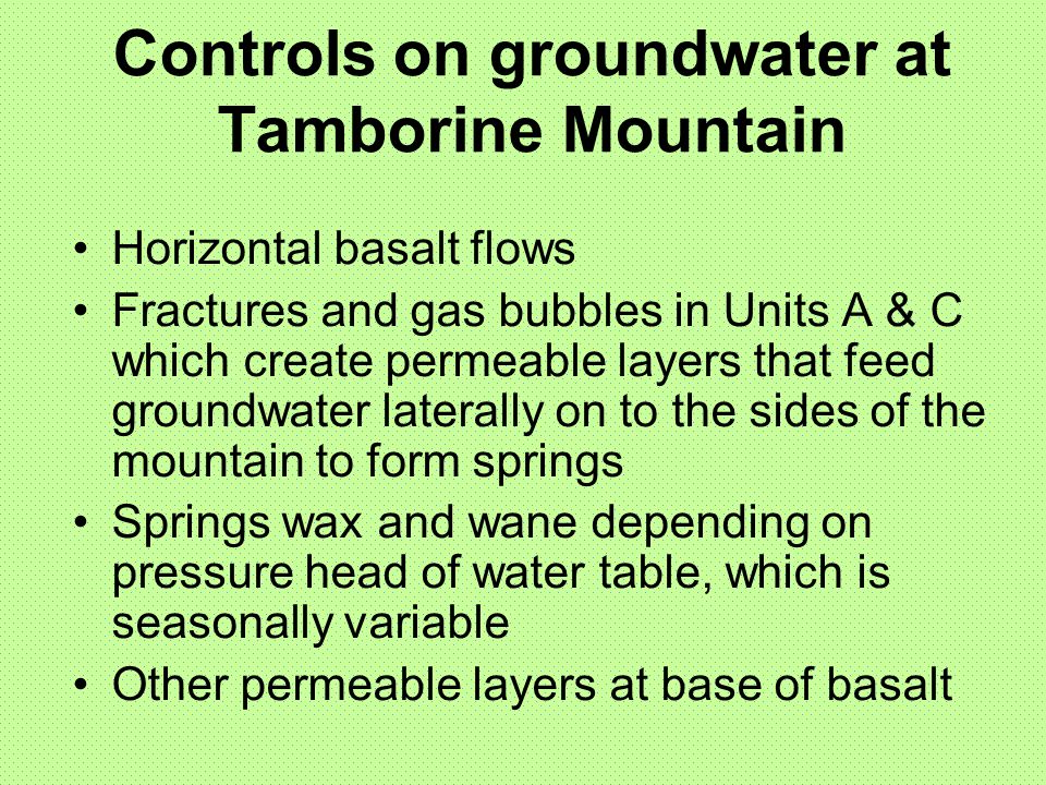 Controls on groundwater at Tamborine Mountain