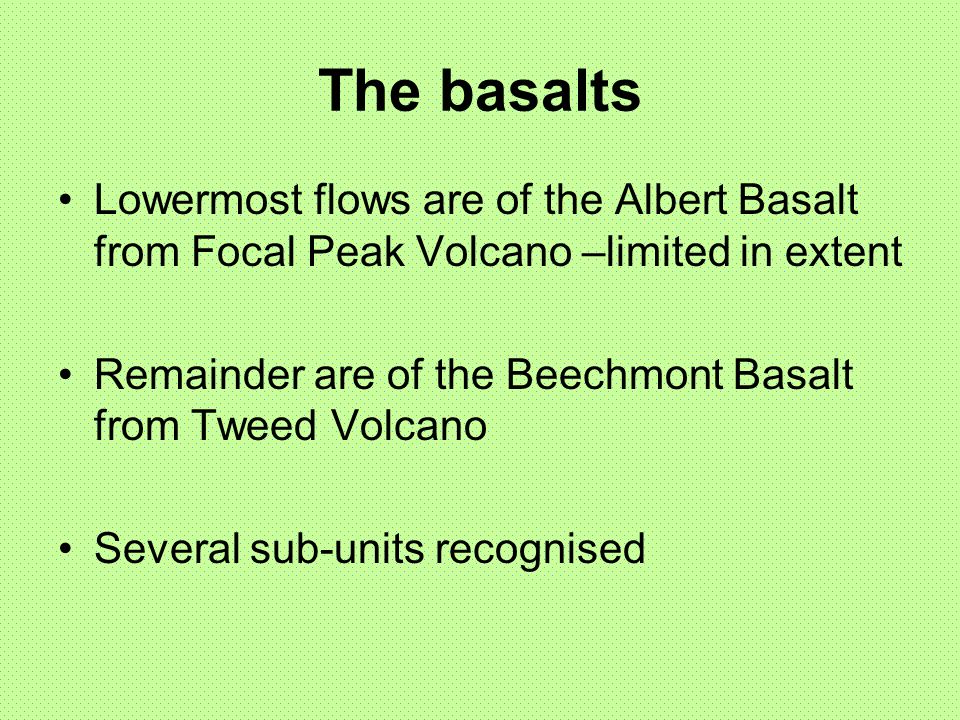 The basalts Lowermost flows are of the Albert Basalt from Focal Peak Volcano –limited in extent.