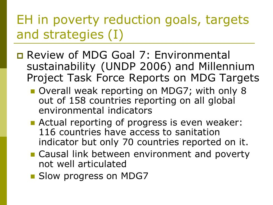 EH in poverty reduction goals, targets and strategies (I)