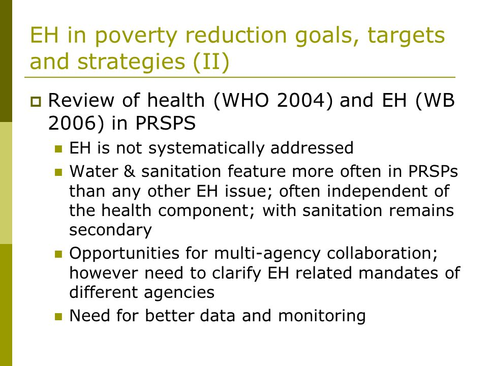 EH in poverty reduction goals, targets and strategies (II)