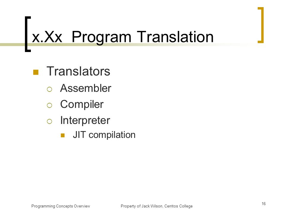 x.Xx Program Translation