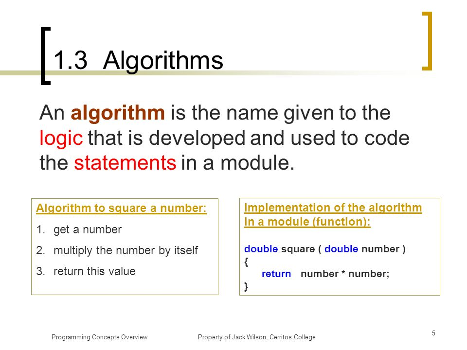 1.3 Algorithms An algorithm is the name given to the logic that is developed and used to code the statements in a module.